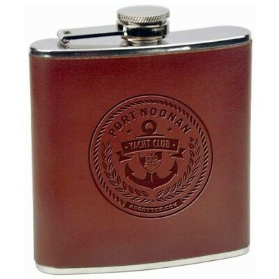 Personalized Engraved Hip Flask, 6 oz Brown Leather