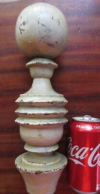 Antique Wood Finial Large Turned Cannon Ball Architectural Salvage Garden Post
