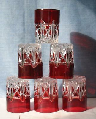 """EAPG CLEAR with RUBY STAIN """"TRIPLE TRIANGLE"""" set of (6) FLAT WATER TUMBLERS"""