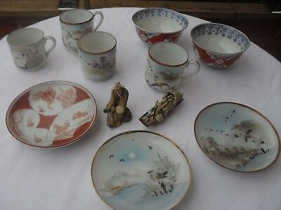 Antique  Oriental Japanese/chinese Job Lot plates cups bowls figures