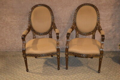 Lovely Pair of Carved Marge Carson French Style Chairs w/Gold Highlights