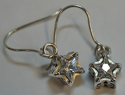 Silpada .925 Silver Cz Star Filigree Dangle Earrings W1236