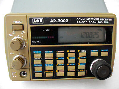 AOR AR 2002 scanner 25-550/800-1300 mhz with manual and original power supply