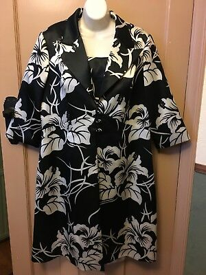 Arruba wedding outfit black + white floral dress and coat suit UK size 16 BNWOT