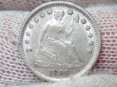 1858 O Silver Seated Liberty Half Dime and free shipping