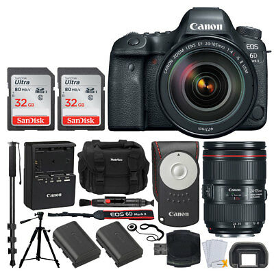 Canon EOS 6D Mark II DSLR Camera + 24-105mm f/4 Lens + 64GB Deluxe Value Bundle