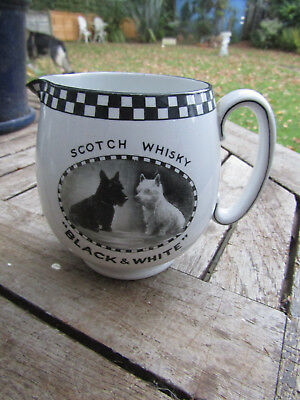 1930s Scarcer LARGE 5 inch Shelley Vintage BLACK & WHITE Whisky Jug SCOTTIE DOGS