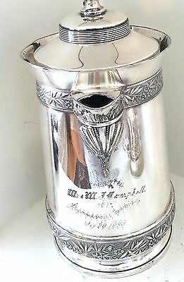 1898 Quadruple Silver plate PRESENTATION ICE WATER PITCHER. Double wall interior