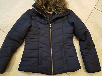 H & M girls navy padded jacket winter coat with fur collar  age 11-12