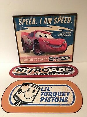 Disney Cars Metal Signs Lightning McQueen Nitroade Torquey Pistons Speed I Am 3