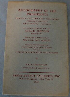 1943 Parke-Bernet Galleries Auction Catalog, Presidential Autographs and More