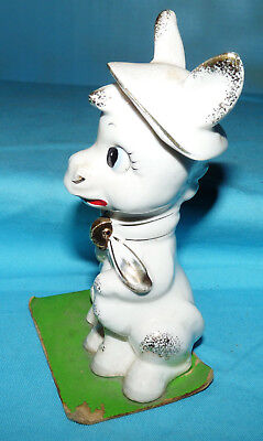 "Vtg~DONKEY FAMILY~Hat~Scarf~Japan~White/Gold Ceramic Figurine~5.5""~No chain~50s"