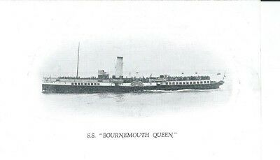 """Shipping, Paddle Steamer """"bournemouth Queen"""", Black And White Postcard"""