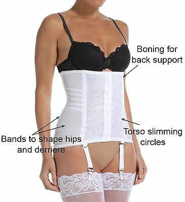 f4898508937 Rago Shapewear Shapette Firm Control White Waist Trainer Cincher Size  28 Medium