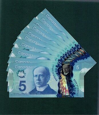 One $5 Polymer Note from the bundle. Prefix HBV. Choice UNC. 2013. Canada
