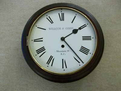 An Early Wall Clock. Willcox & Gibbs, Morgate  St. E.c  Working. Railway/school