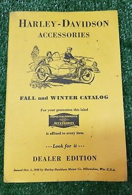 Harley Davidson Motorcycle Old  Vintage Accessory Catalog Fall and Winter 1930