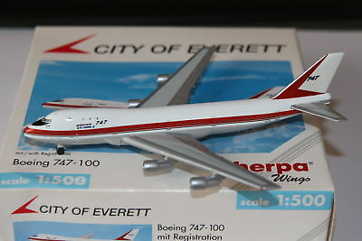 Herpa Wings Boeing 747-100 City of Everett 1:500 OVP