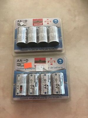 Lot Of 8 NEW Maxell Mbs-d Battery Converter Aa To D 723040