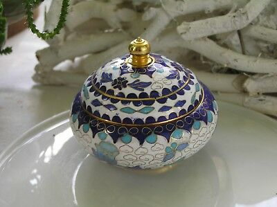 alte Cloisonne Dose Emaille Messing florales Design Asiatika China Vintage 20.Jh
