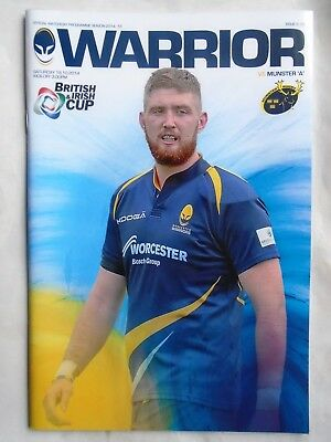 worcester warrior  v  munster A rugby  2014 RUGBY PROGRAMME free p&p to uk