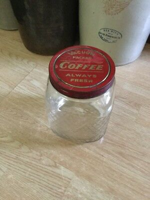 Antique Large Old Diamond Pattern Glass Coffee Jar ~ Great For Ones Prim Kitchen