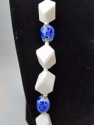 Blue Art Glass, and white beaded necklace Miriam Haskell Vintage SIGNED