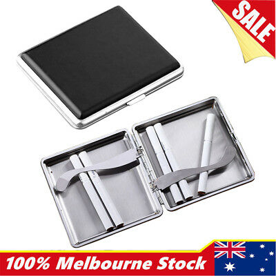 Pocket Stainless Steel PU Leather Cigar Cigarette Tobacco Case Pouch Holder Box