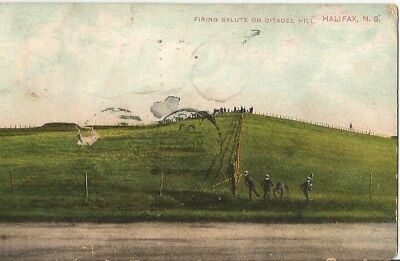 """Antique post card """"Firing Salute on Citadel Hill"""" Halifax, NS. Posted 1909"""