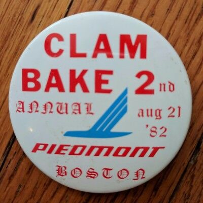 Piedmont Airlines pin back button - Clam Bake 2nd Annual August 21, 1982 Boston