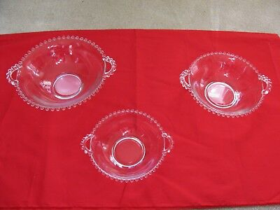 Set Of 3 Candlewick  Imperial? Clear Glass Bowls