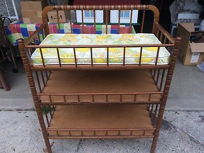 Vintage Baby Changing 3Tier Table Jenny Lind Maple Wood-Plus 2 Crib Quilt's