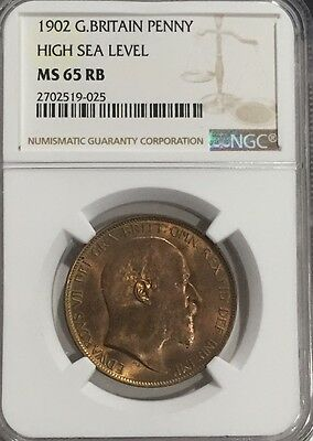1902 MS65 RB Great Britain Penny UNC High Sea Level Registry Coin only 3 Higher!