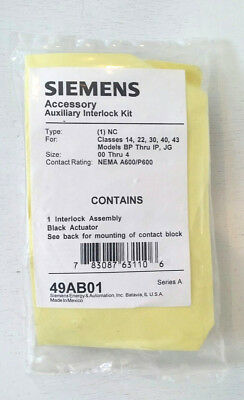 New Normally Closed Siemens Furnas NC Auxiliary Contact Interlock kit 49AB01 NIB
