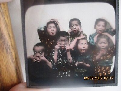 Atq Magic Lantern Glass Slide China Japanese Chinese Children Funny Just a Fan