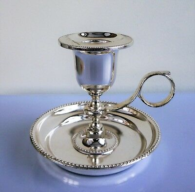 Silver-Plated Chamber Stick Candlestick