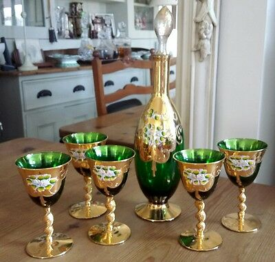 Vintage Bohemia, Moser? Green Crystal Decanter & 5 Glasses, Overlaid  In Gold.