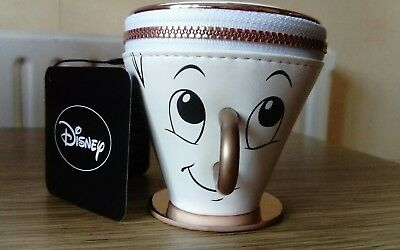 Disney Chip The Tea Cup Purse Zip Beauty & The Beast 4 Inch Height Size Approx U