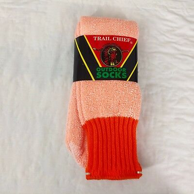 Vtg Trail Chief Outdoor Socks Orange Long Work 1 Pair NOS Acrylic