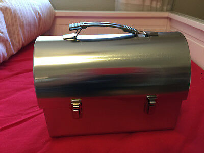 Plain metal domed lunch box silver