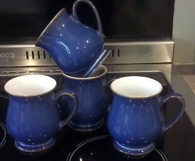 Denby Imperial Blue Craftsman Set Of 4 Coffee Mugs In Good Condition