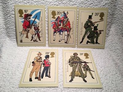 Set of 5 Royal Mail stamps postcards The British Army 6 July 1983