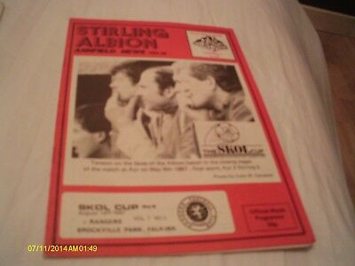 Stirling Albion V Rangers League Cup Programme 1987