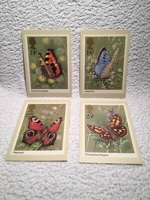 Set of 4 Royal Mail stamps postcards Butterflies 13 May 1981