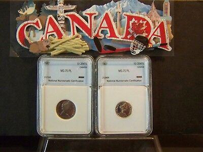 1967 Canada 10 Cent Fish Plus  A 1967 Canada 5 Cent Rabbit -Both Proof-Like