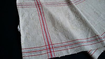 ecru/grey handwoven linen Cloth or runner with red and blue stripes