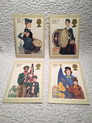 Set of 4 Royal Mail stamps postcards Youth Organisations 24 March 1982