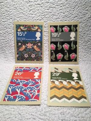Set of 4 Royal Mail stamps postcards British Textiles 23 July 1982