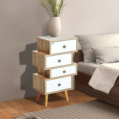 Oak Retro Bedside End Nightstand Table Lamp Books Bedroom Vintage 4 Drawers UK