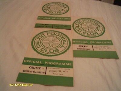 3 X Celtic Home Programmes Season 70 - 71
